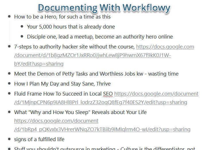 documenting with workflowy