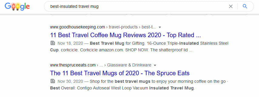 search results for best instulated travel mug on google