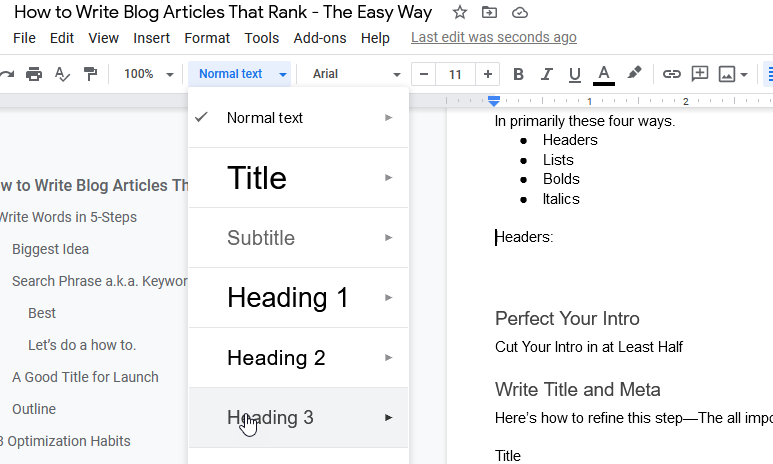 headers for blog articles