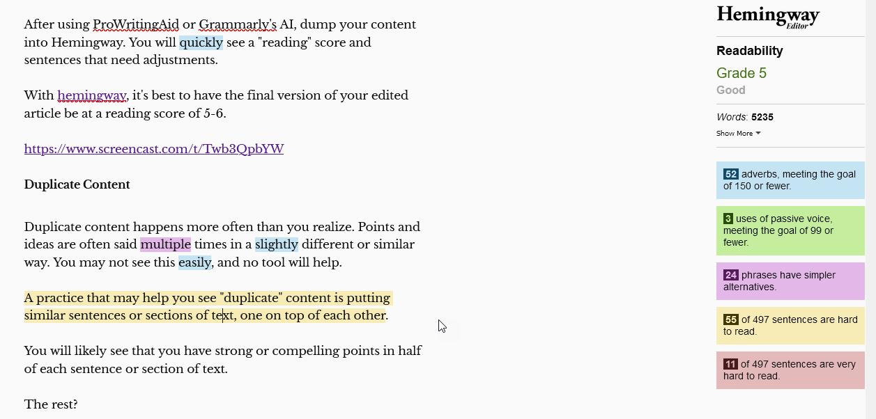 using hemingway editor